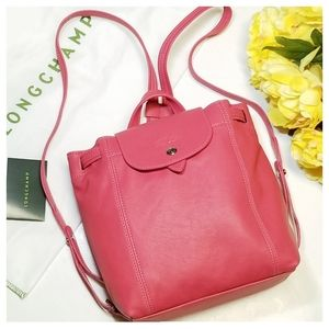 NWOT Longchamp|Le Pliage Mini CR Leather Backpack
